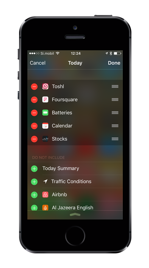Screenshot edit Today screen in iOS Notification center