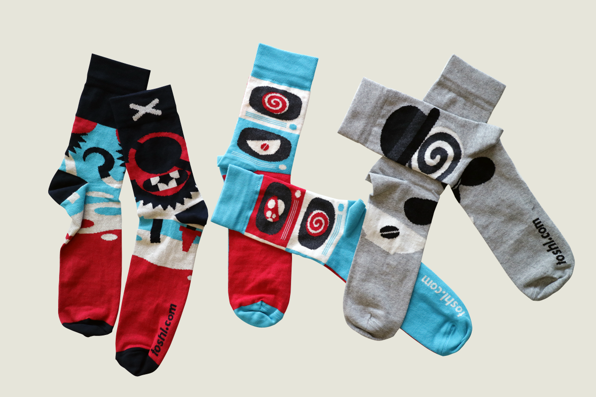 Toshl socks laid out