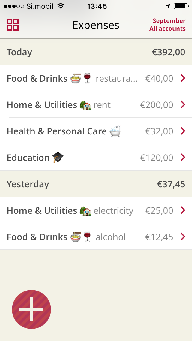 Expense list with emoji iOS