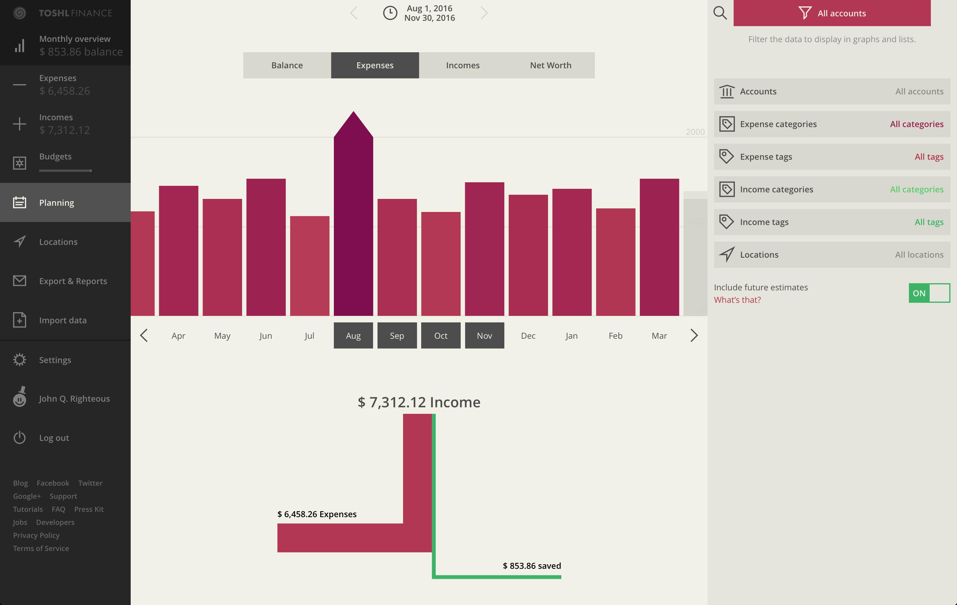 financial planning - custom time span