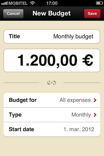 Setting up the budget is easy